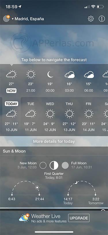 app de meteorología Weather Live 2