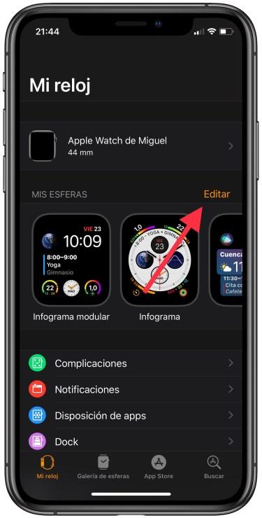 eliminar esferas del Apple Watch 1