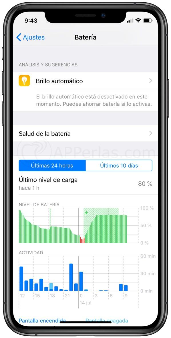 Menú de batería de iOS 12