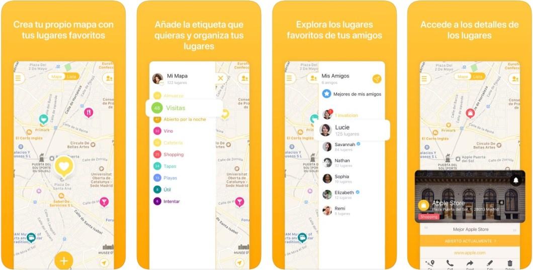 App Mapstr para iPhone