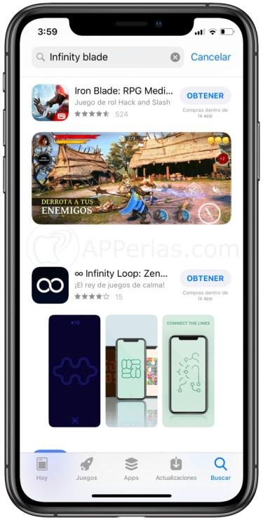 Infinity Blade no aparece en la App Store