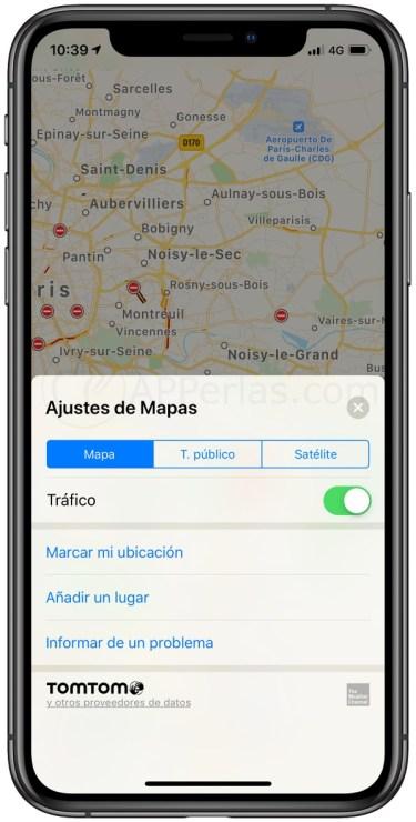 Opción tráfico en los de mapas de Apple