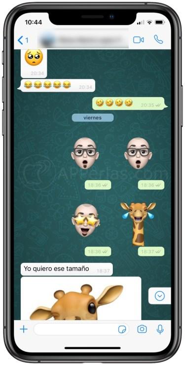 Memojis y animojis sin fondo blanco en WhatsApp