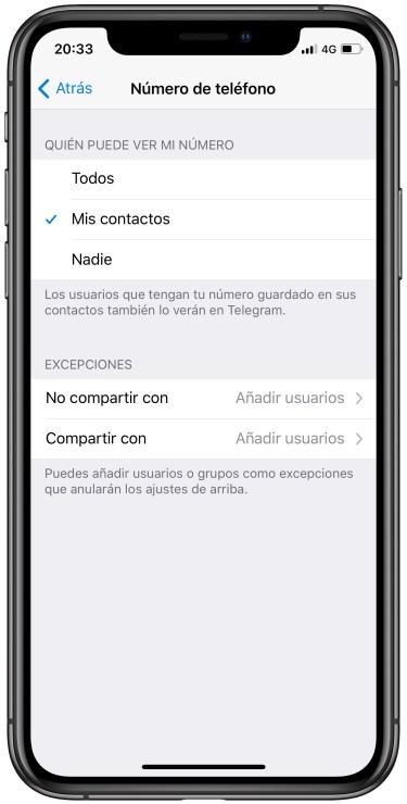 número de teléfono en Telegram 1