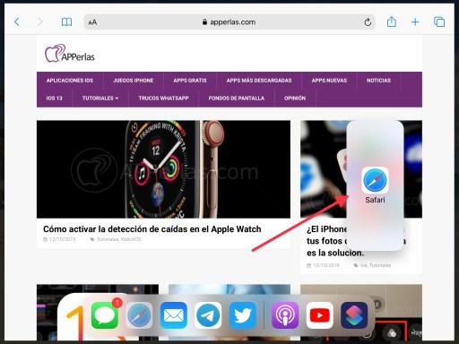Desplazamos la app hacia la derecha de la pantalla del iPad