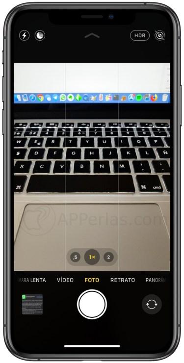Interfaz de la cámara del iPhone 11