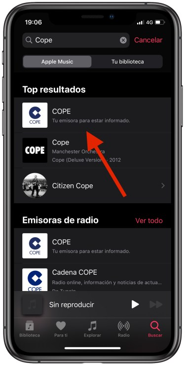 radio en el iPhone 1