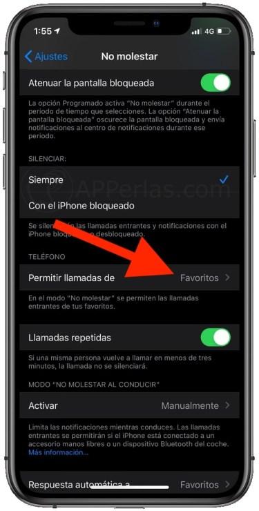 Activa FAVORITOS en las llamadas con el iPhone en Modo no molestar