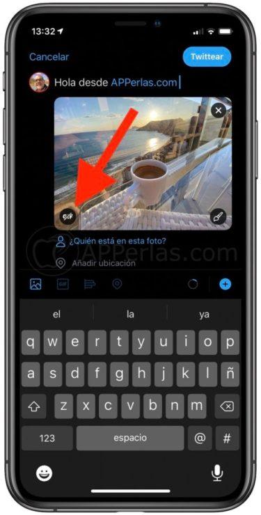 Opción para convertir la Live Photo en GIF