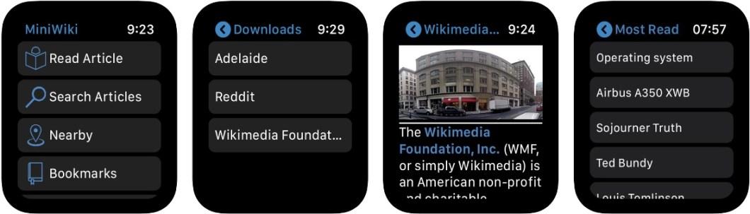 La wikipedia en el Apple Watch