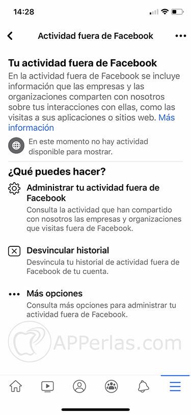 actividad fuera de Facebook iphone 1