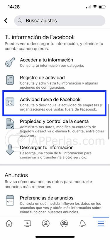 actividad fuera de Facebook iphone 2