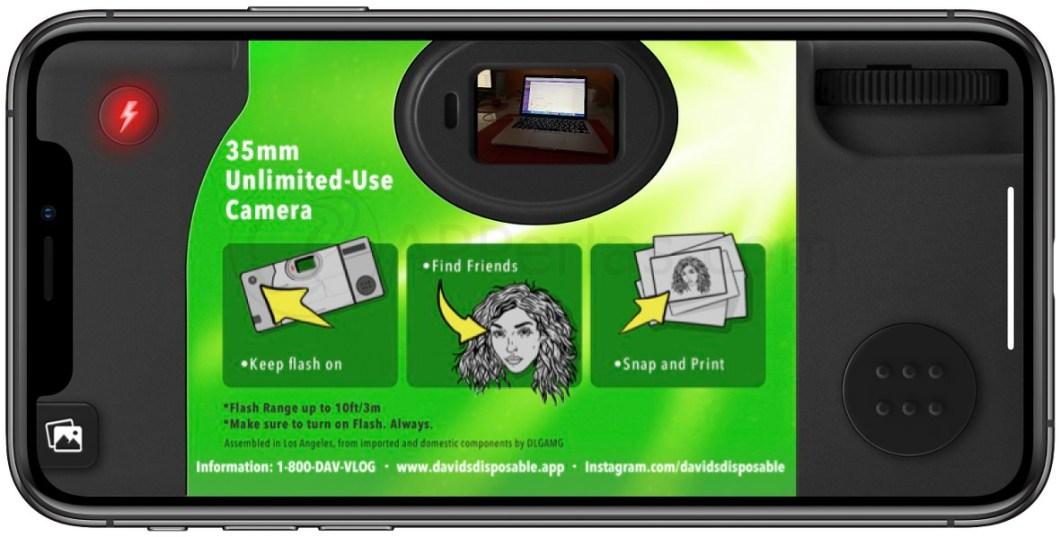 Interfaz de una cámara desechable