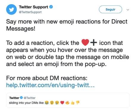 reacciones mensajes directos twitter 2