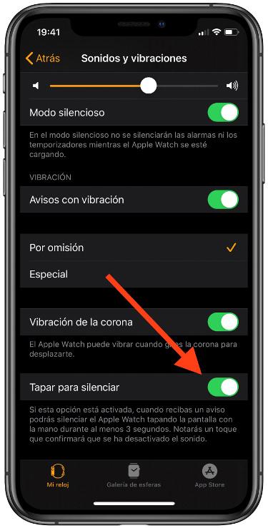 Silencia el Apple Watch 1