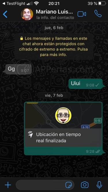 Captura del Dark Mode de WhatsApp