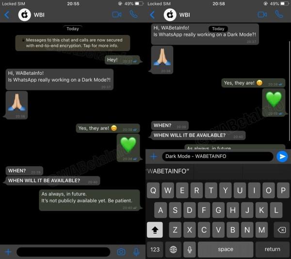 modo oscuro de WhatsApp en iPhone 3