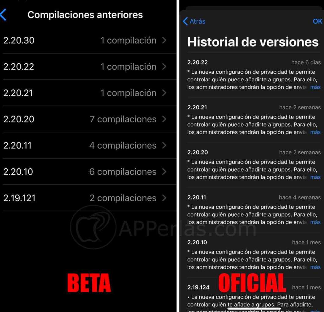 Versiones de WhatsApp en la BETA y en la app oficial