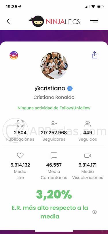 analizar cuentas de instagram app ninjalitics 3
