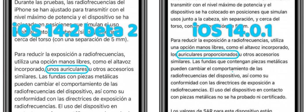 Nuevo texto en iOS 14.2