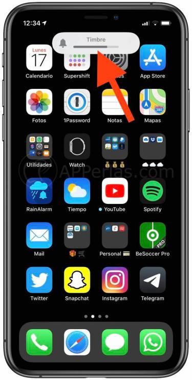 Nivel de sonido del timbre en iOS