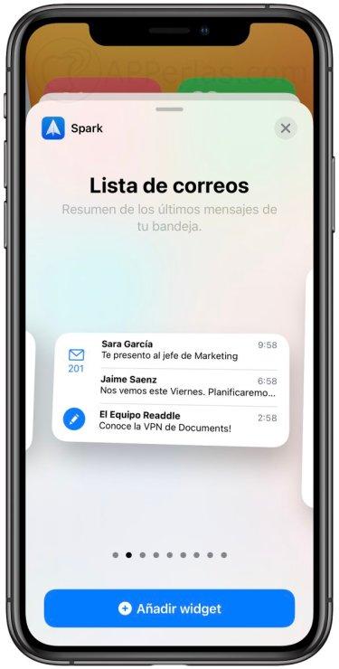Spark una de las apps con Widgets para iPhone