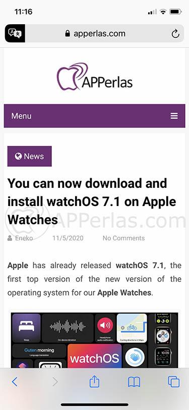 traducción de Safari de iOS 14 2