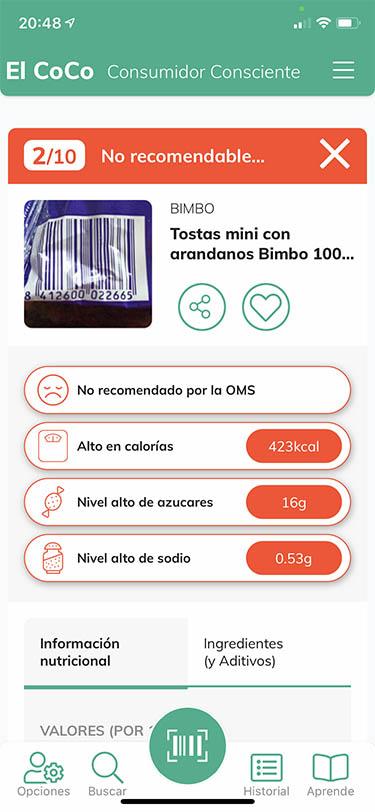 app analizar alimentos y productos coco 1