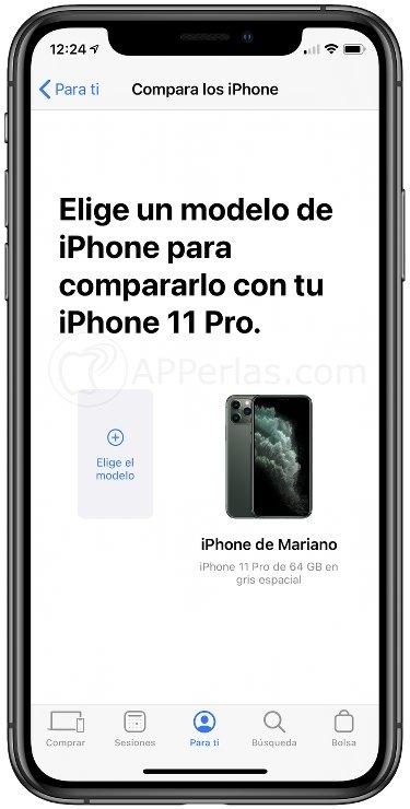 Añade el modelo a comparar con tu iPhone