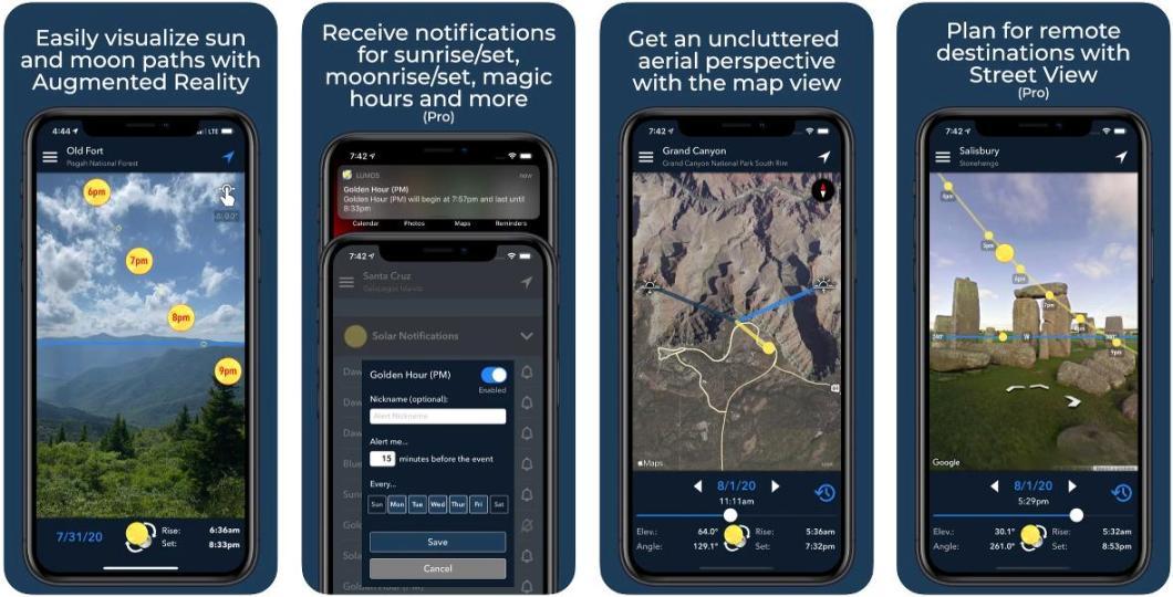 App para rastrear la posición del sol y la luna.