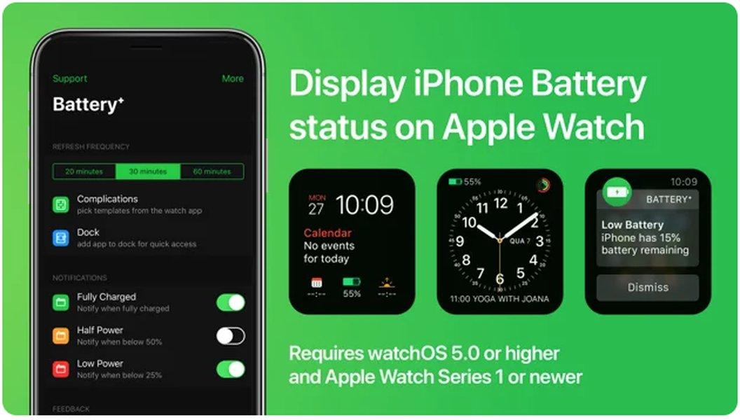 Complicaciones de batería para el Apple Watch.