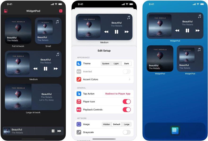 Capturas de la app WidgetPod