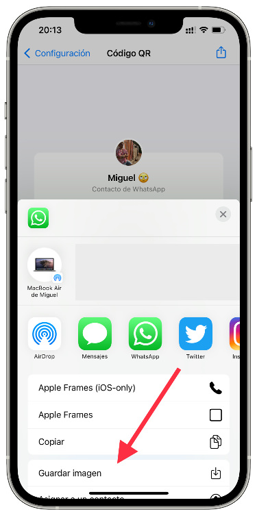 share an account from WhatsApp 1