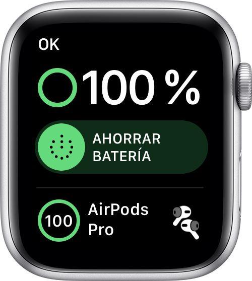 Info de la batería en el Apple Watch