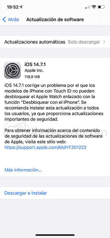actualizacion apple watch ios 14.7.1