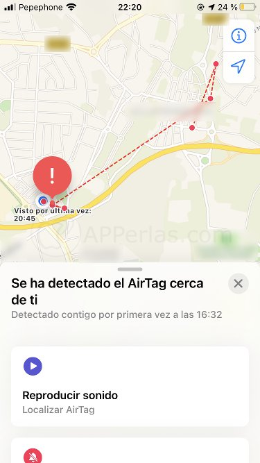 Mapa con ruta realizada con el Airtag encima