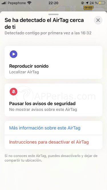 Opciones para actuar sobre el Airtag