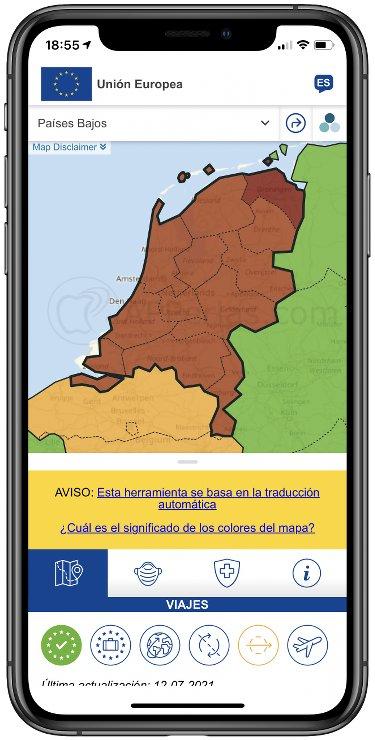 Mapa con colores por incidencia del Covid-19