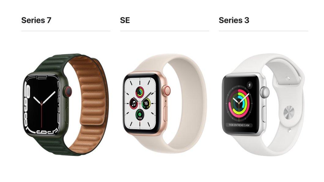 Apple Watch Series 7, SE y Series 3