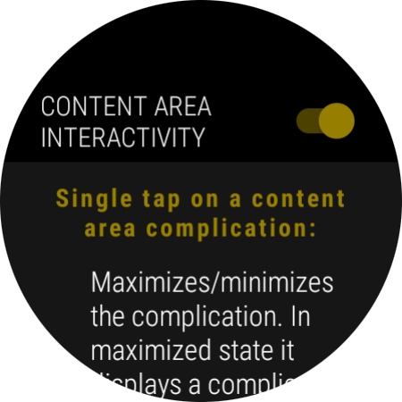 Content area interactivity settings page