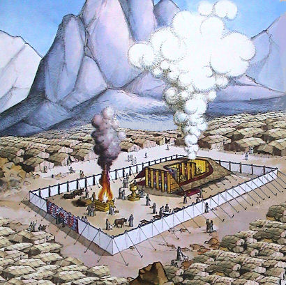 de stammen gelegerd rondom de tabernakel