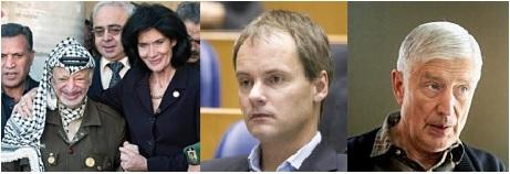 anti-Israël activisten Gretta Duisenberg, Anja Meulenbelt, Harry van Bommel en Dries van Agt