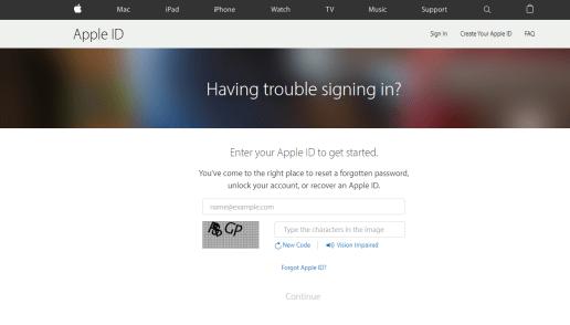 iforgot.apple screenview