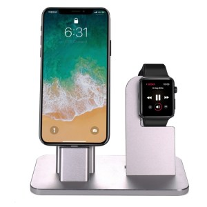 2 in 1 aluminiumlegering Charging Dock Stand houder Station voor Apple Watch serie 3 / 2 / 1 / 42mm / 38mm iPhone X / 8 / 8 Plus / 7 / 7 Plus / 6s / 6s Plus