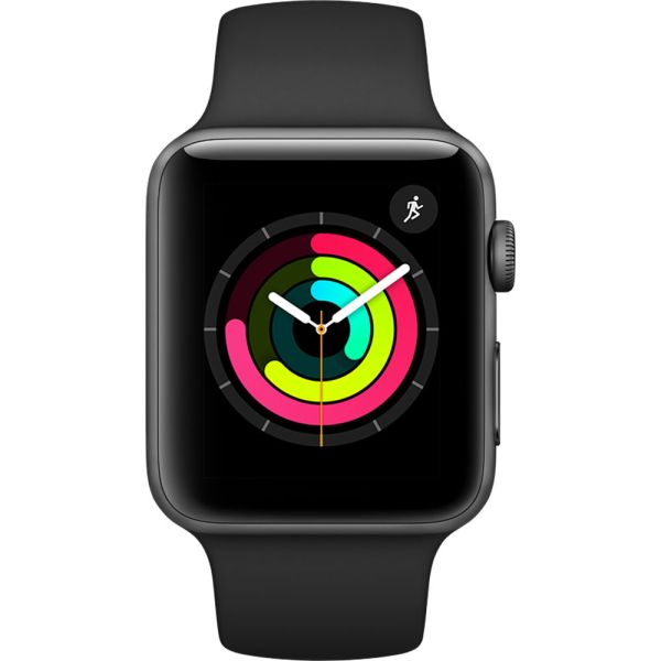 Apple Watch Series 3 - 42mm Kast van Spacegrijs Aluminium met Zwart Sportbandje + 3D Gebogen Gehard Glas Screenprotector - MQL12