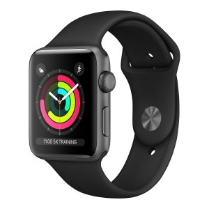 Apple Watch Series 3 42mm Space Grey aluminium - Zwart sportbandje