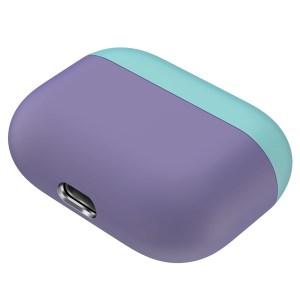 Voor Apple AirPods Pro Twee kleuren draadloze koptelefoon beschermhoes (groen paars)