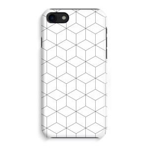 iPhone 8 Volledig Geprint Hoesje (Hard) (Glossy) - Zwart-witte kubussen