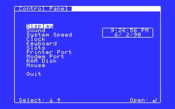 Apple IIGS control panel