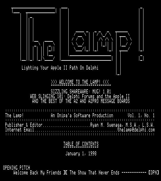 The Lamp!, Jan 1998